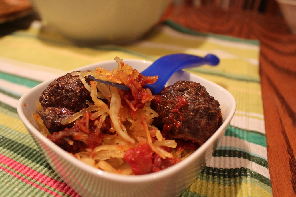 Spaghetti Squash with Meat and Offal Sauce