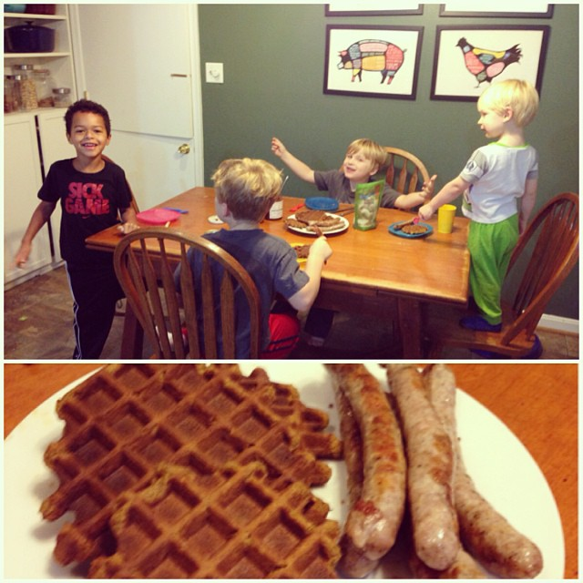Pumpkin Waffles and 4 boys at PaleoParents