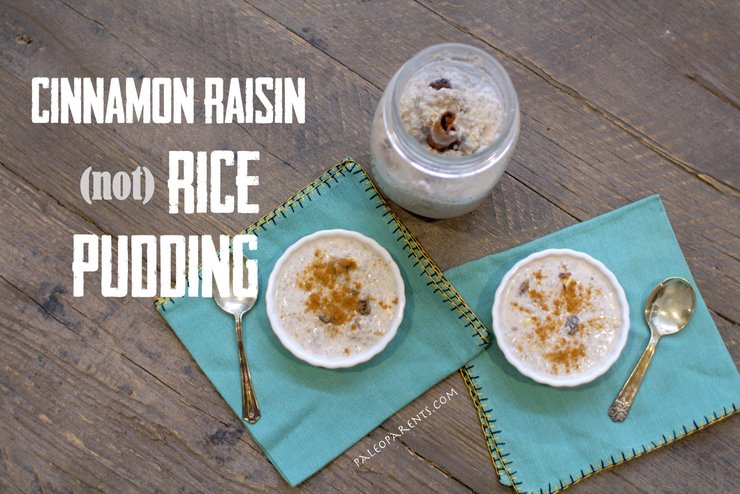 Cinnamon Raisin (not) Rice Pudding by PaleoParents. Paleo Parents Weekend Wrap Up 6.7: No Bake Treats And No Cook Eats For Warm Summer Days!
