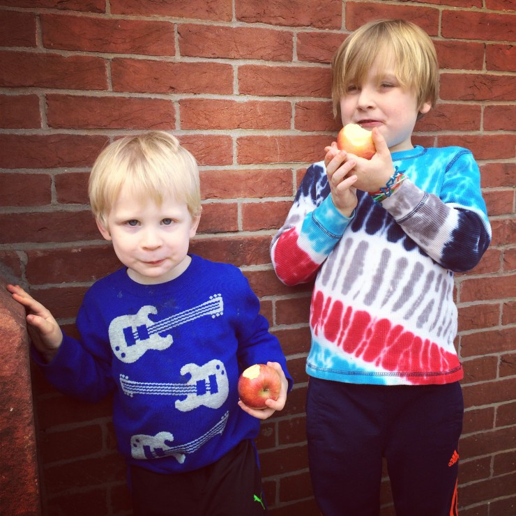 Boys Eating Apples at Easter Market on PaleoParents