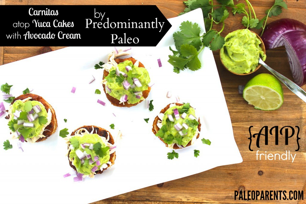Guest Post: Predominantly Paleo's EPIC AIP Round-Up & New Recipe for Carnitas atop Yuca Cakes with Avocado Cream