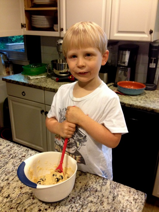 Wesley Stirring Blueberry Pancakes