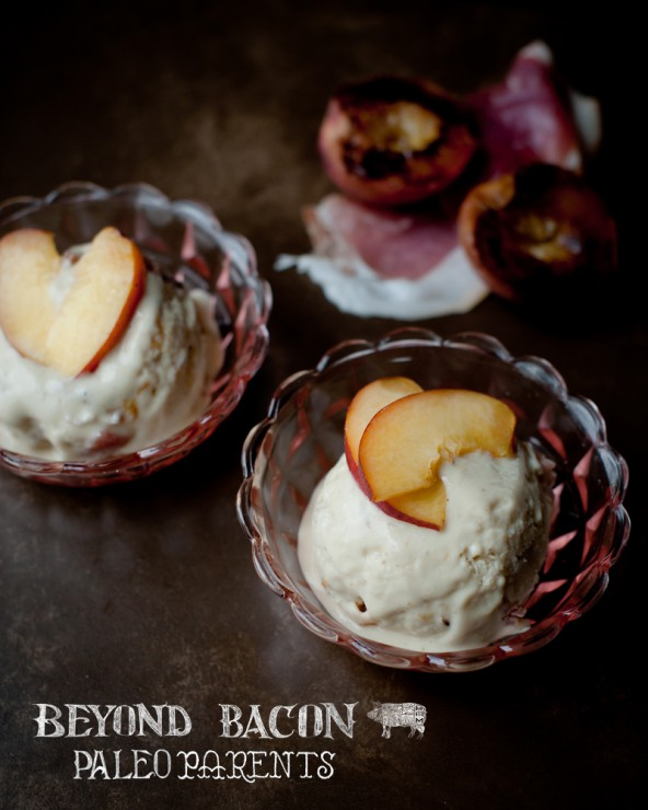prosciutto roasted peach ice cream from BeyondBacon by PaleoParents