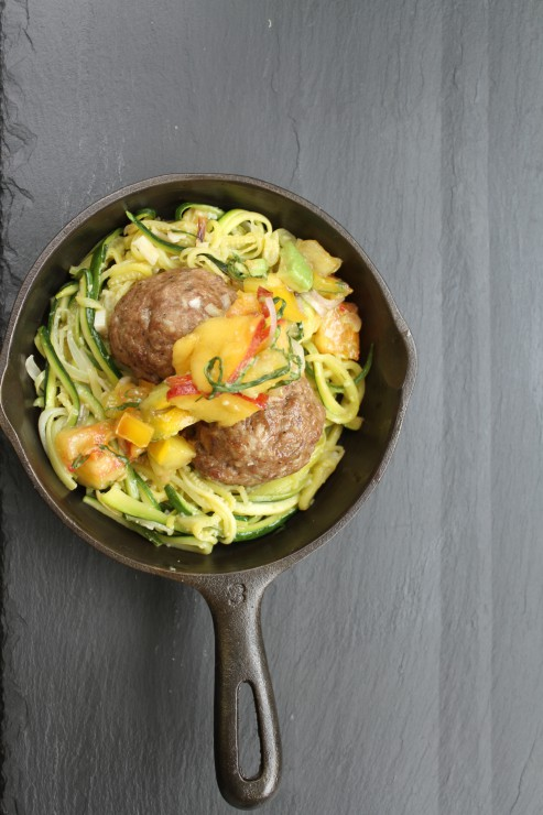 Review, Recipe and G!veaway: Paleo by Season Meatballs with Zucchini Noodles and Peach Basil Salsa