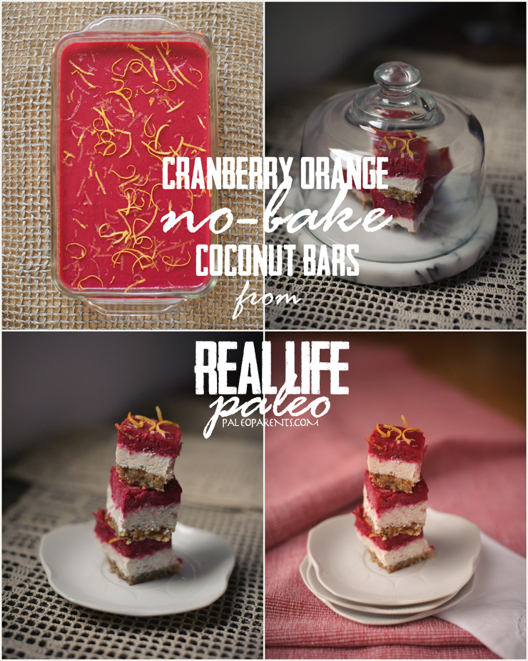 Cranberry Clementine (no bake) Coconut Bars Collage, Kitchen Tool Superlatives: Paleo Parents Weekend Wrap Up 7.26