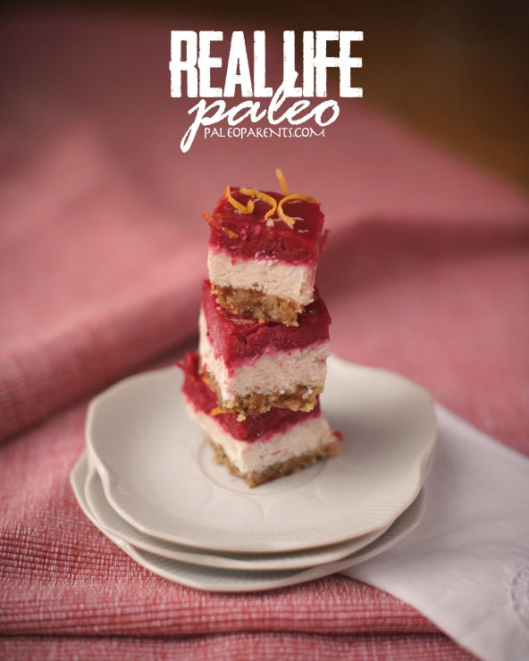 Cranberry Clementine (no bake) Coconut Bars from Real Life Paleo on PaleoParents