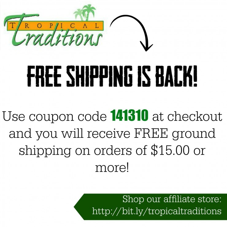 Free Shipping is Back for Tropical Traditions on Paleo Parents