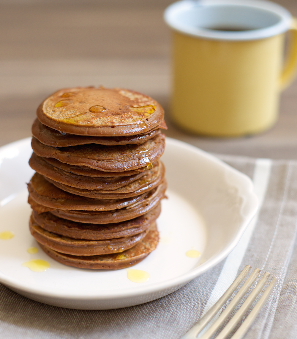 Cocoa Almond Plantain Pancakes from Performance Paleo, Paleo Parents