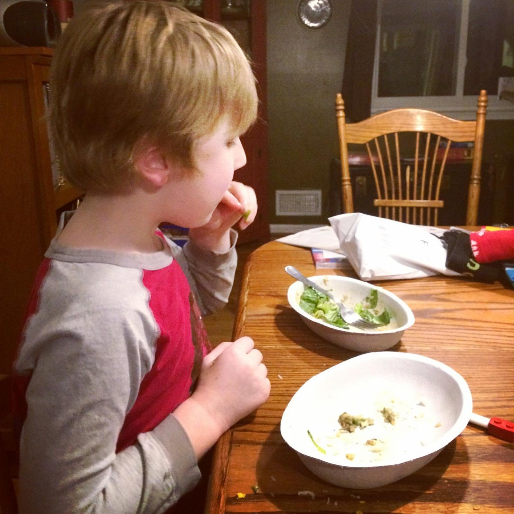 Fin eating Chipotle, Paleo Parents