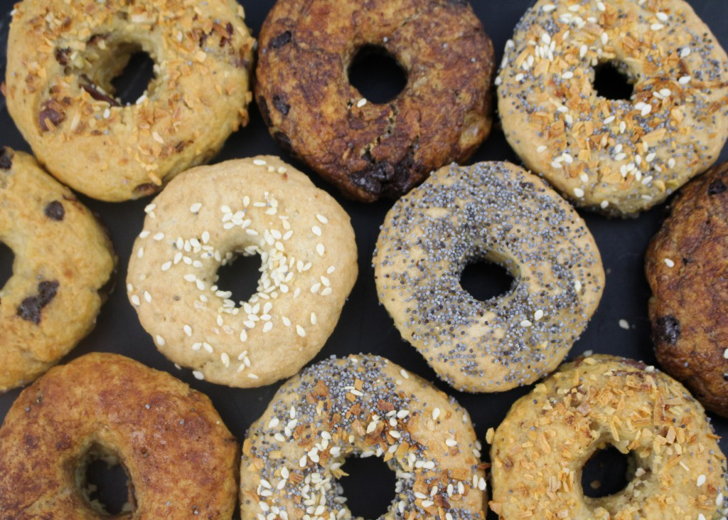mini bagels close up