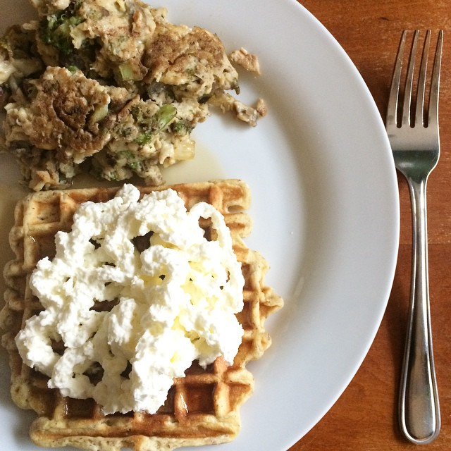 In this Weekend Wrap Up, 2/22: Stacy's EPIC FAIL And CRAZY Delicious Foods, The Paleo Parents Share Stacy Whipped Cream with Waffle