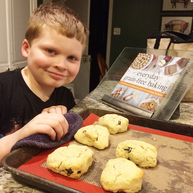 Cole baking scones, Paleo Parents Weekend Wrap Up, 3/15: GIVEAWAY, CRAZY COUPONS, An ANNOUNCEMENT And WHAT Cole Is Cooking!
