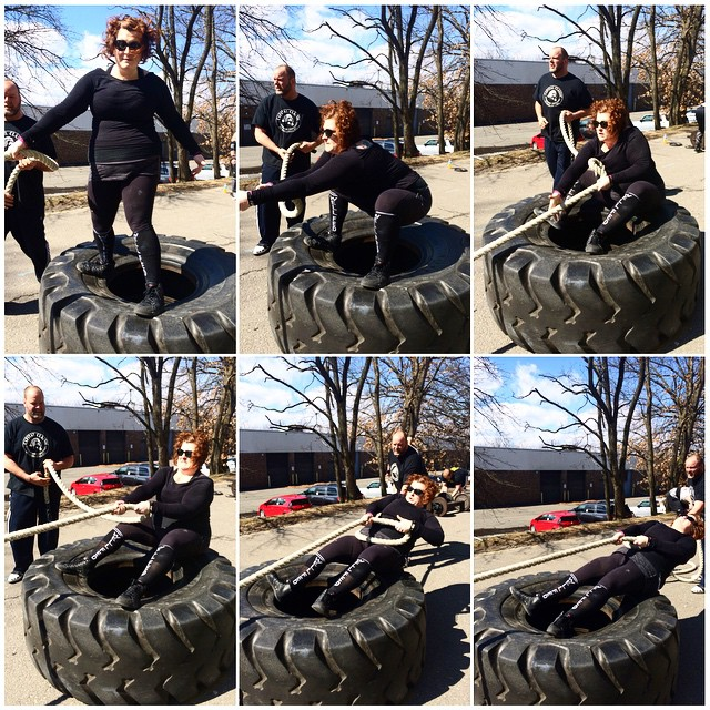 Stacy on tire, Paleo Parents Weekend Wrap Up, 3/22: Flippin' WHAT?!