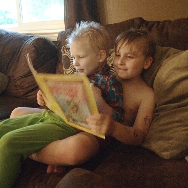 Finn reading to Wes