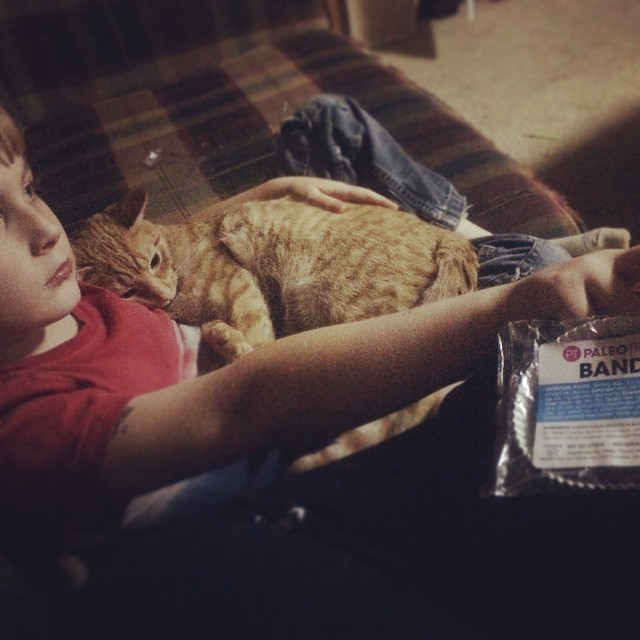 Boy and cat snuggles, Paleo Parents Weekend Wrap Up 5.31: Why Our 9yo Drinks Coffee Plus A Week Of Relaxation And Tutorial On Paleo Pots!