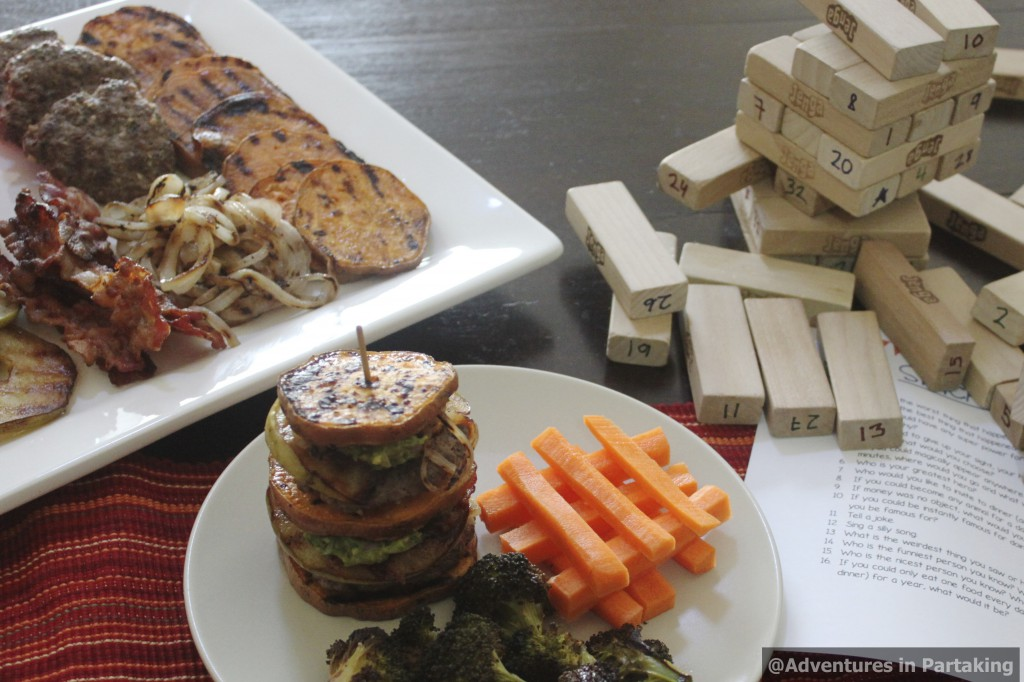 Paleo Parents Guest Post: Burger Stack Attack {Meal & Game!}, Adventures in Partaking