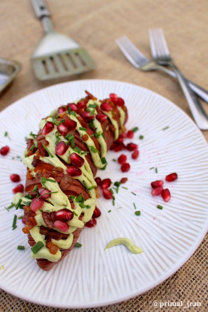 Paleo Parents Guest Post: Avocado Cream Hasselback Sweet Potatoes, Primal Health with Jean