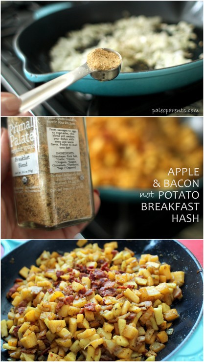 Apple Bacon not Potato Breakfast Hash made with PrimalPalate AIP blend on PaleoParents