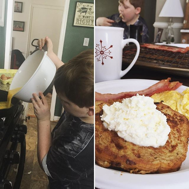 Cole making french toast,  Easy Lunch Packing Ideas and New Recipes Paleo Parents Weekend Wrap Up