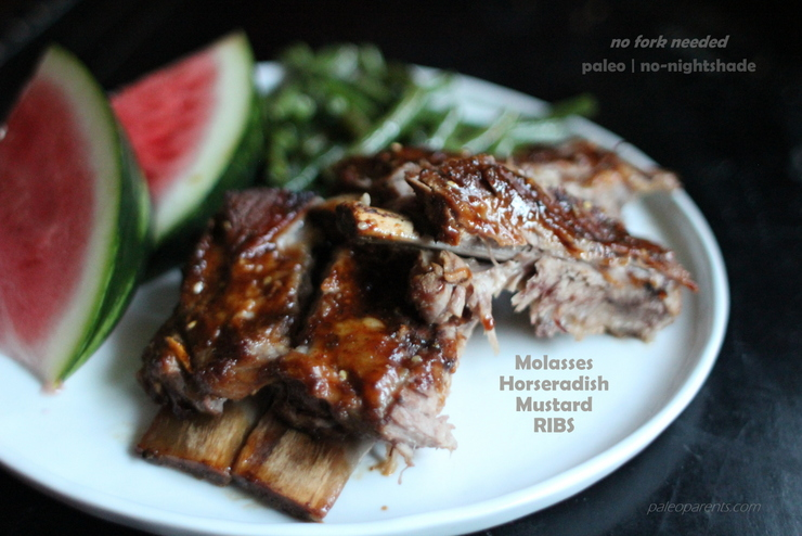 Molasses Horseradish Mustard Ribs, Simple Meals and Short-Cut Foods (Mom's Gone and It's an ALL-GUYS Week!) | Paleo Parents