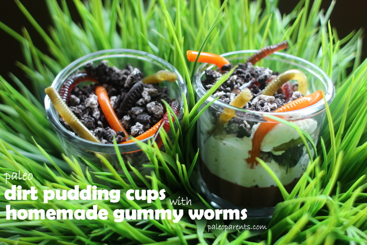 Dirt Pudding Cups with Homemade Gummy Worms