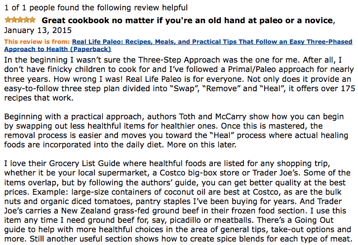 Real Life Paleo Amazon review