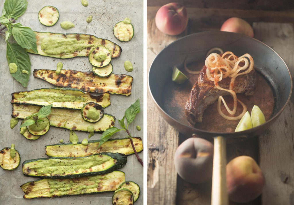 zucchini with pesto and pork chops with stone fruit, Cherry Lime Spritzers Recipe + Giveaway + Our Weekly Family Meal Plan | Paleo Parents