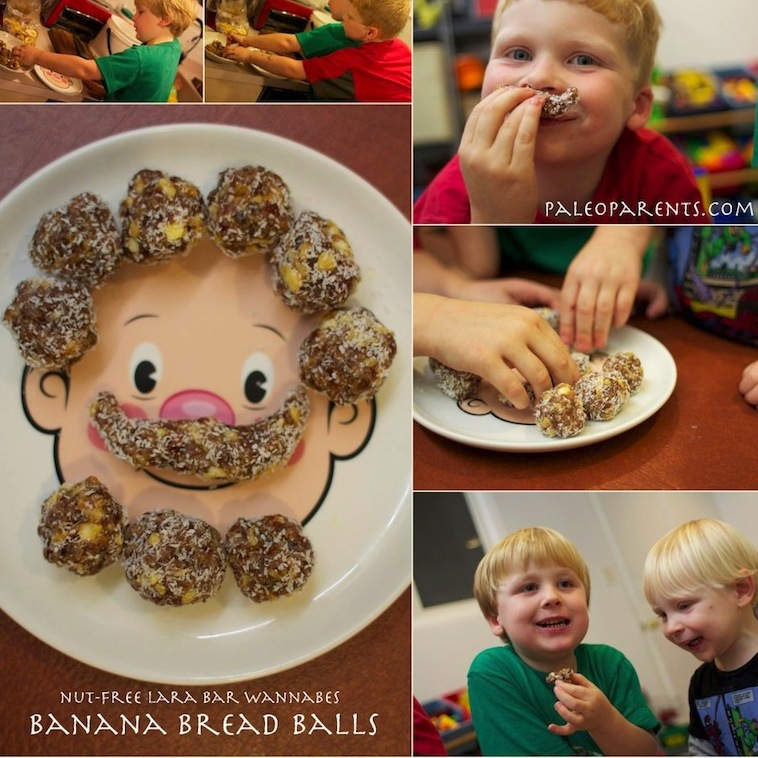Banana-Bread-Balls-Lara-Bar-Wannabes SQUARE, Paleo Parents Weekend Round Up 7.5: Summer Eats for Kids + Our Real Life!