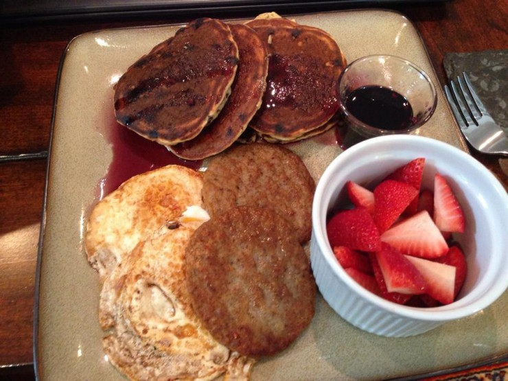 Breakfast with Chocolate Chips not Bluberry Pancakes