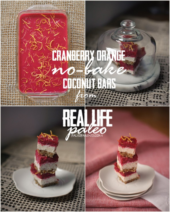 Cranberry Clementine (no bake) Coconut Bars Collage