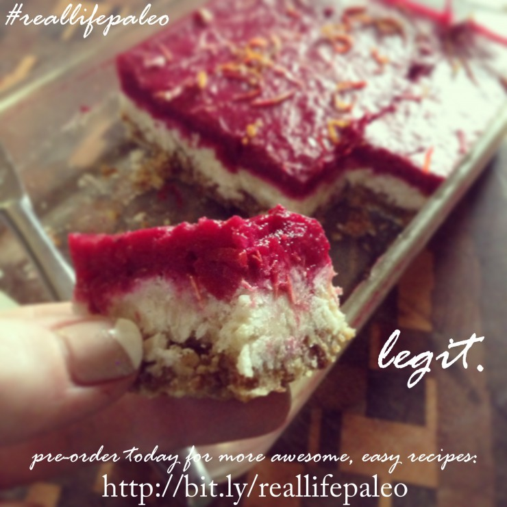 Cranberry Orange (no bake) Coconut Bars IG share from Real Life Paleo on PaleoParents