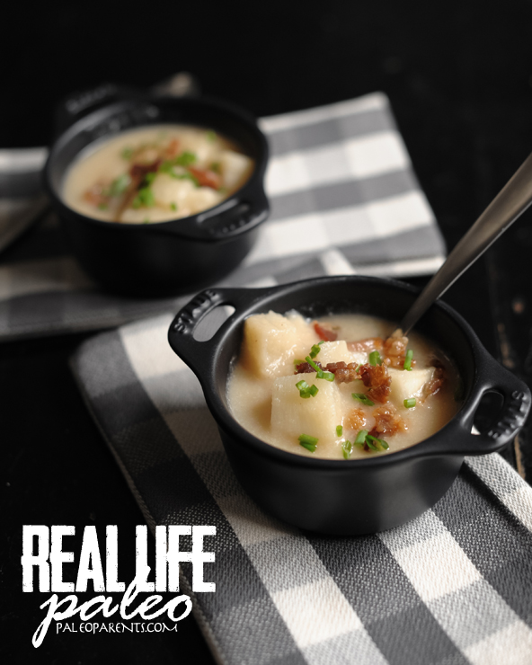 Baked Potato Soup from Real Life Paleo, Paleo Parents Weekend Wrap Up, 3/15: GIVEAWAY, CRAZY COUPONS, An ANNOUNCEMENT And WHAT Cole Is Cooking!