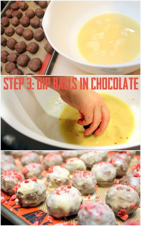 White Chocolate Strawberry Velvet Cake Balls