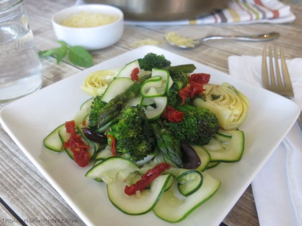 Veggie Saute with Zoodle Ribbons by The Nourishing Home, as seen on The Cheesecake Factory Recipe Recreation Round-Up by the Paleo Parents