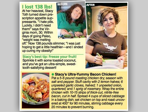 stacy of paleo parents in womens world mag