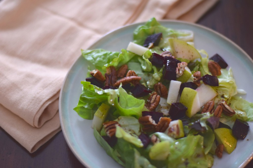 roasted beet pear pecan salad, Paleo Parents Book Review: All American Paleo Table + Recipe for Morning Butter Biscuits and Blackberry Skillet Jam
