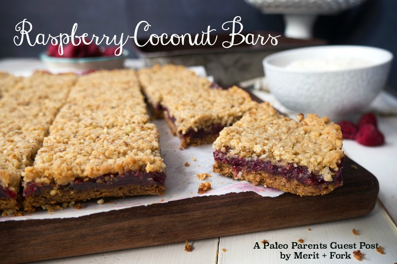 Paleo Parents Guest Post: Raspberry-Coconut Bars, Merit + Fork